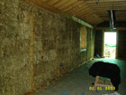Interior straw bale wall