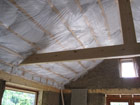 Recycled plastic bottle insulation in the ceiling