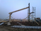 First element of timber frame craned into position