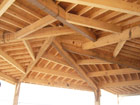Reciprocal timber frame decked with OSB