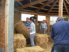 Straw bale walls in progress